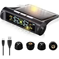 Real Time Wireless Car Tire Pressure Monitoring System Smart Tire Safety Monitor, Solar External Universal TPMS with 4…