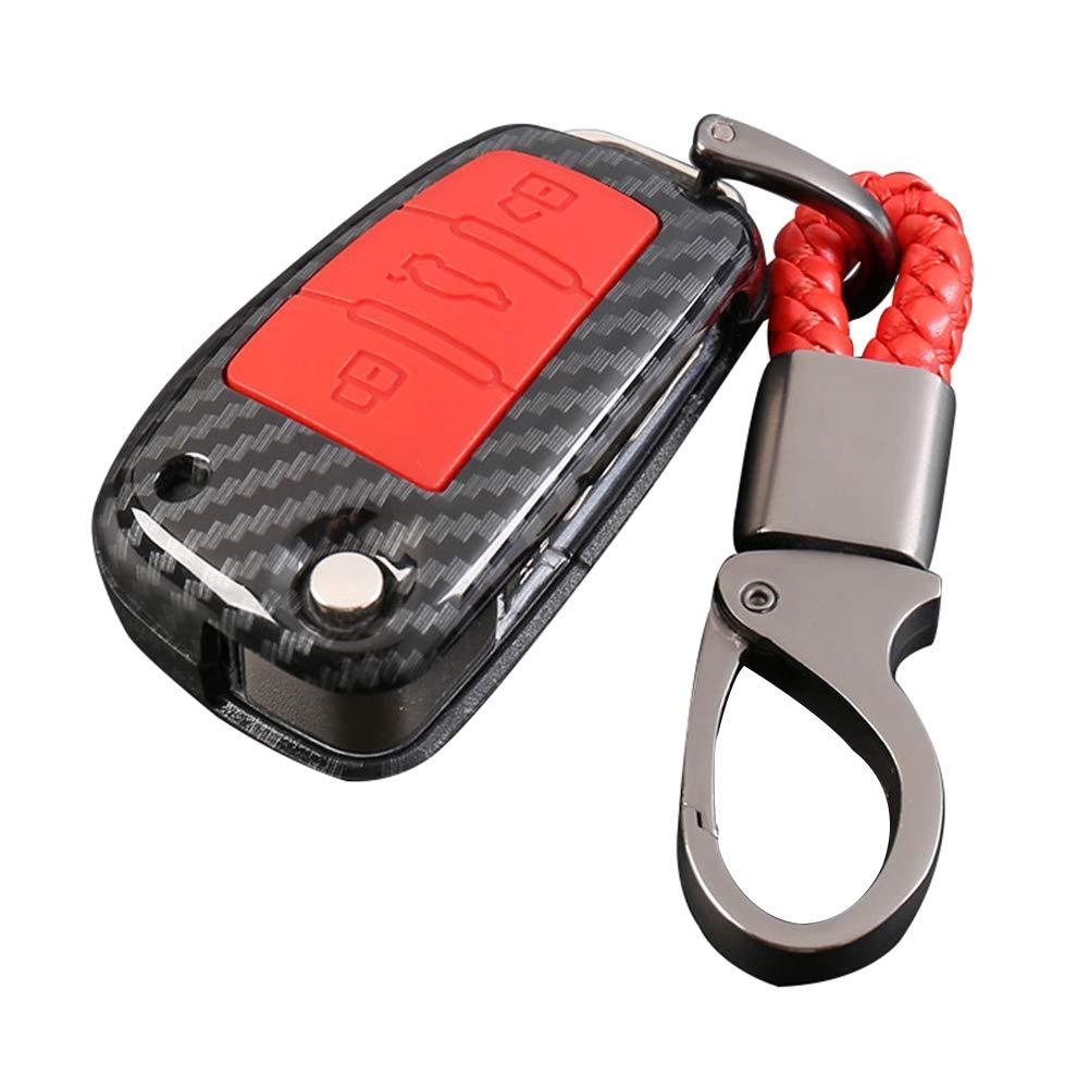 Happyit ABS Carcasa de Fibra de Carbono Negro Silicona Cubierta de la Caja de la Llave del Coche Llavero para Audi Sline A3 A5 Q3 Q5 A6 C5 C6 A4 B6 B7 B8 TT 80 S6 3 Botones