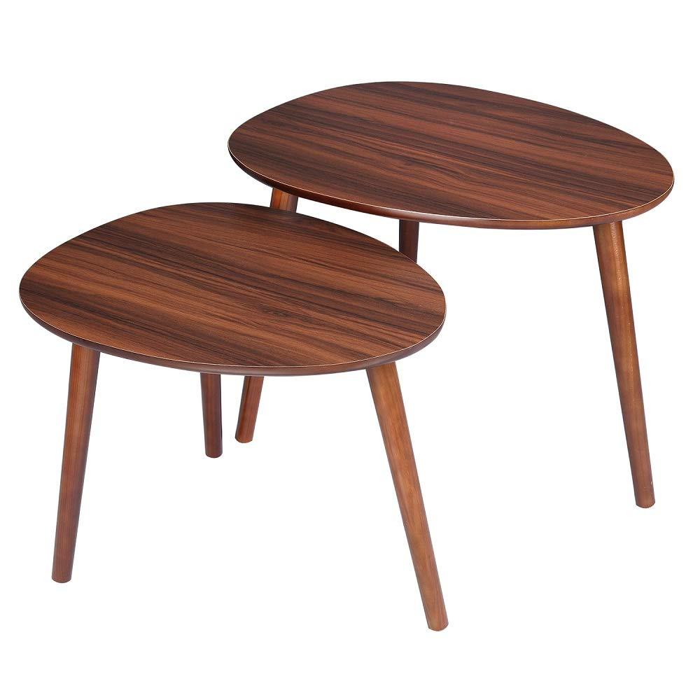 FCH Nesting Tables End Tables for Living Room, Home and Office, Set of 2, Walnut by FCH