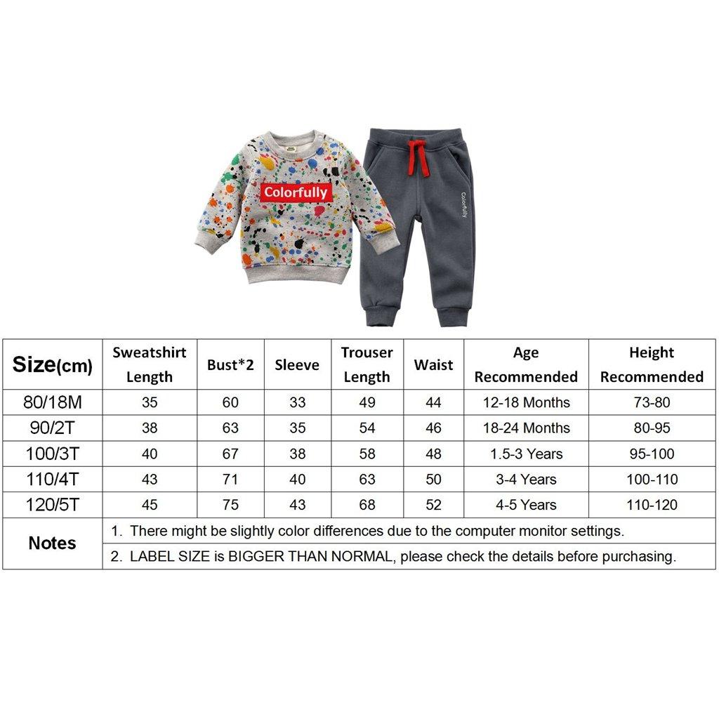 2pcs Conjuntos de Trajes Ropa de Deportiva Ni/ños Beb/é Sudadera Manga Larga Top y Pantalones