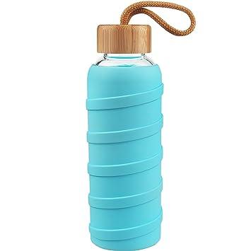 Botella de Agua de Vidrio de Borosilicato Deportivo, Botella de Agua de Cristal de 480