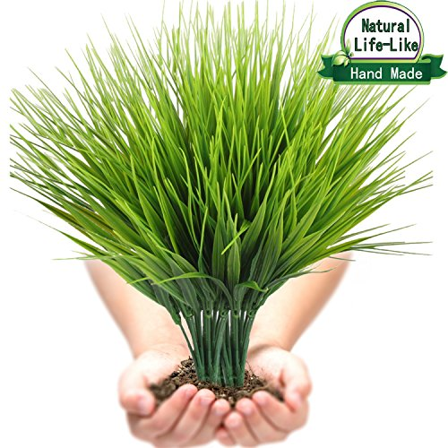 Artificial Plants Faux Plastic Wheat Grass Fake Leaves Shubs Outdoor Window Box Wholesale Greenery Bushes Indoor Outside Home Garden Light Green Verandah Office Wedding Decor UV resistant- 4 PCS - Long Stem Topiary