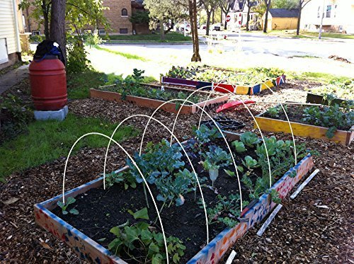 1/5''Dia, 6ft long hoops for Grow Tunnel, Greenhouse, Support For Plant Cover And Seedling Guard White Color, Plant Cover &Frost Blanket For Season Extension Support,40pack by RowTunnel