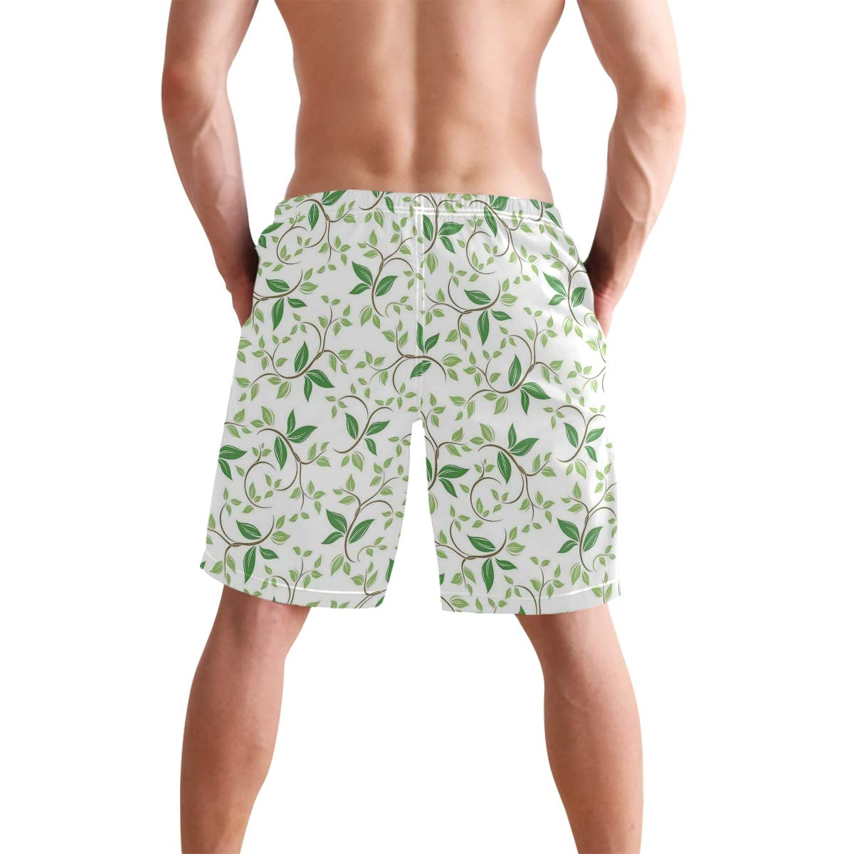 COVASA Mens Summer ShortsIvy Patterns with Tiny Fancy Green Leaves Branches Cr