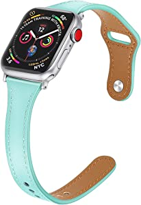 Mtozon Slim Leather Bands Compatible with Apple Watch 38mm/40mm iwatch Straps Series 6/SE/5/4/3/2/1, Replacement Soft Genuine Leather Sport Wristband, Teal M/L