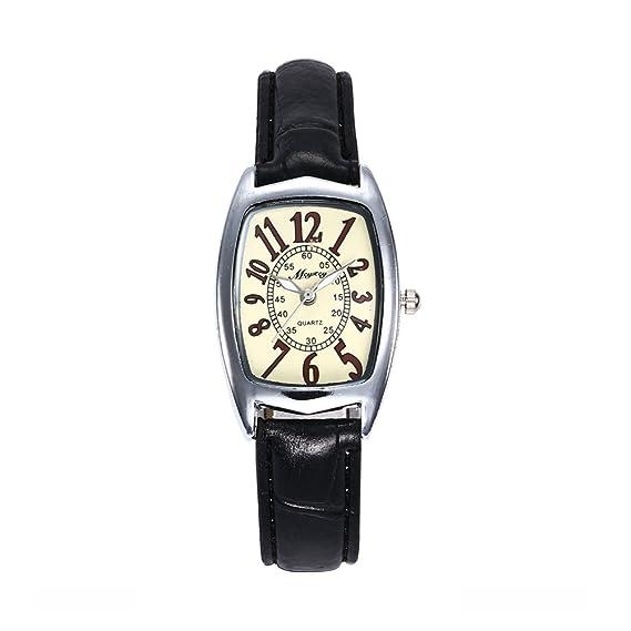mcykcy moda mujeres breve Digital cuadrado Dial relojes correa de piel resistente al agua reloj de pulsera para mujer: Amazon.es: Relojes