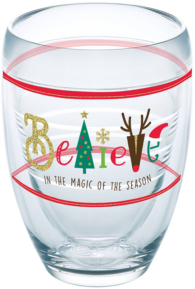 9Oz Stemless Wine Glass Clear Tervis 1268430 Holiday Believe Insulated Tumbler with Wrap