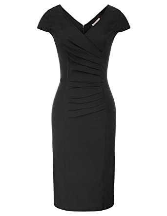 54841138b300e1 Belle Poque Women's V-Neck WearTo Work Formal Bodycon Pencil Dress Black  Size S BP585