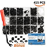 EZYKOO 415 Pcs Car Retainer Clips & Plastic Fasteners Kit - 18 MOST Popular Sizes Auto Push Pin Rivets Set -Door Trim Panel Clips For GM Ford Toyota Honda Chrysler