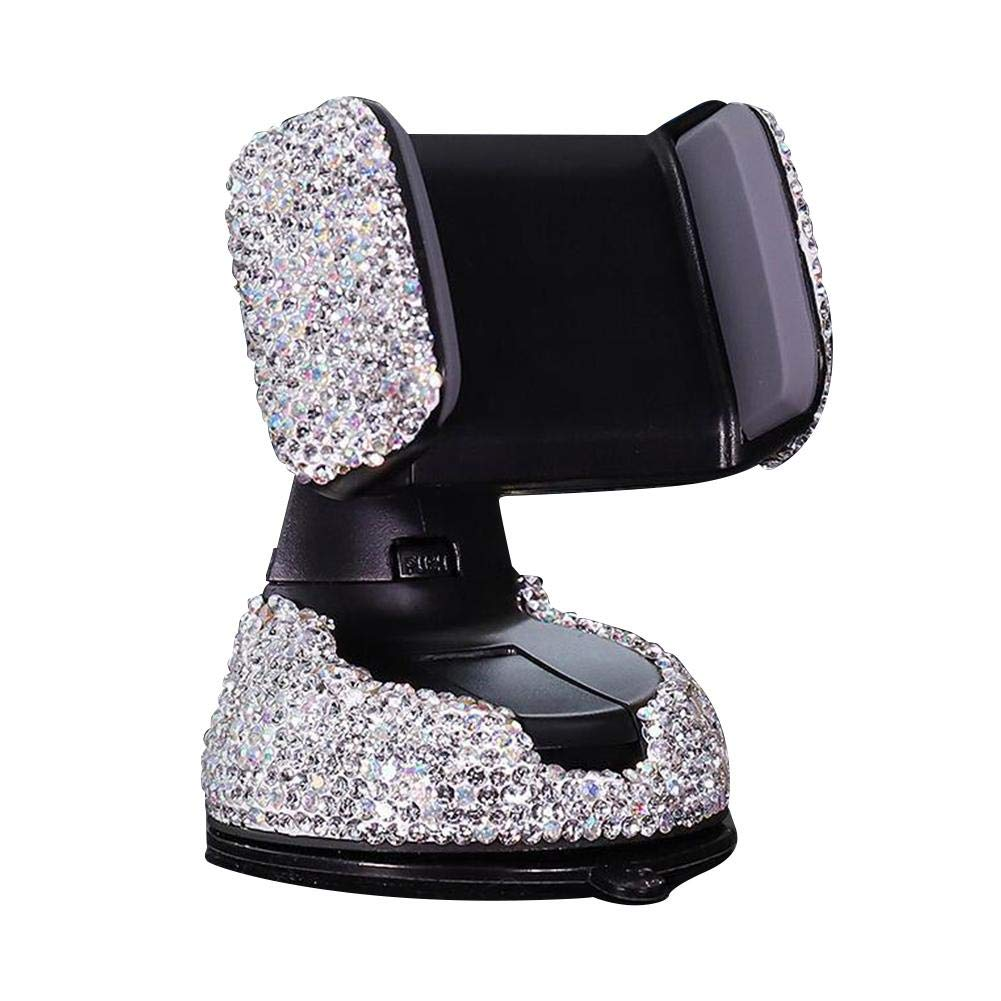 Red Luxury Rhinestone Bling Crystal Car Phone Mount with One More Air Vent Base,Universal Cell Phone Holder for Dashboard,Windshield and Air Vent
