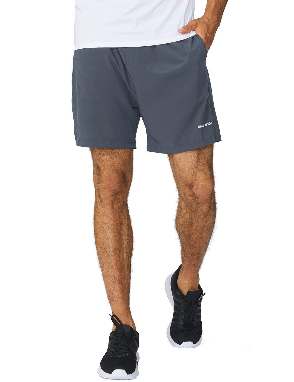 Baleaf Men's 5 Inches Running Athletic Shorts Zipper Pocket Gray Size XXXL by Baleaf
