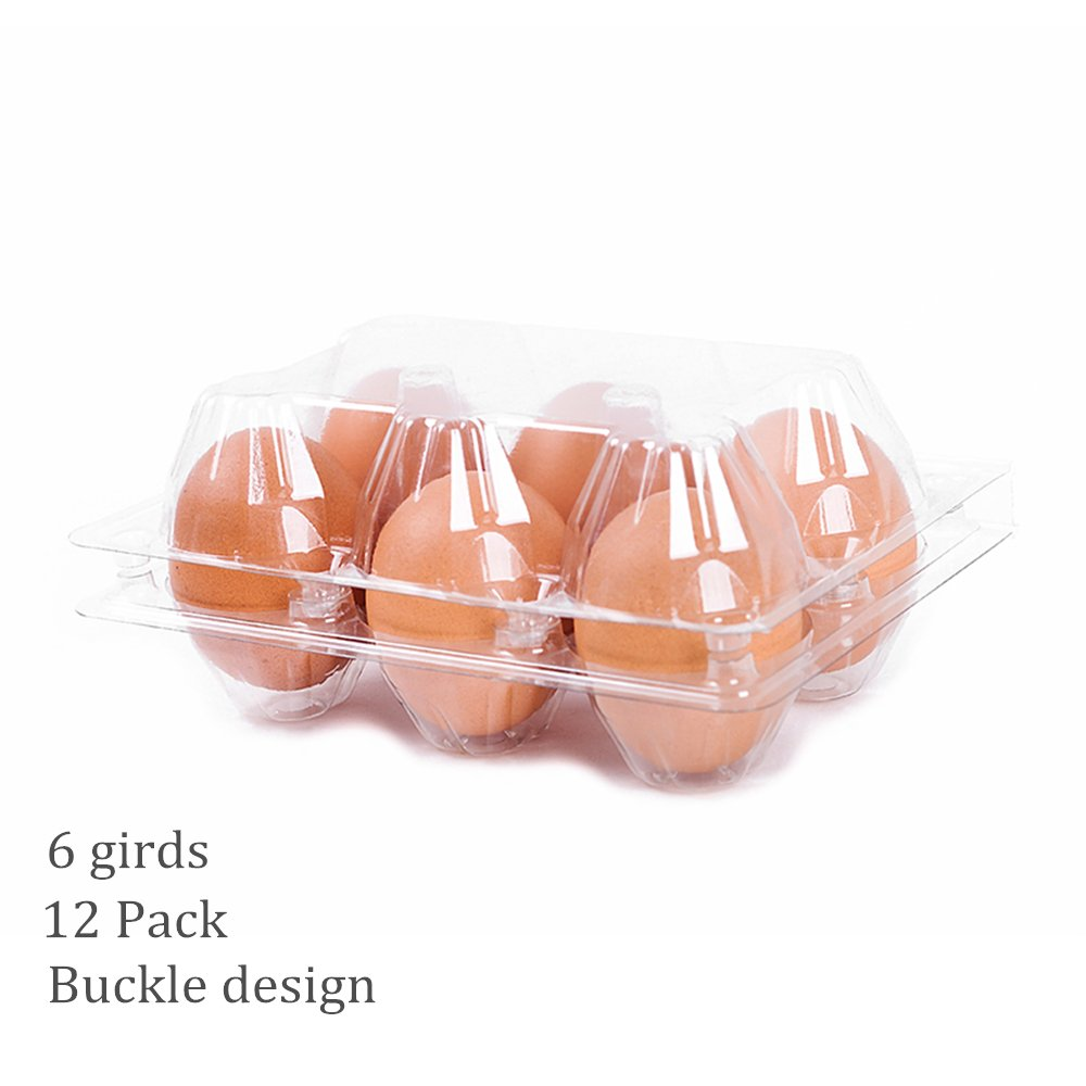 6 Pack - Clear Plastic Premium Eco-Friendly Egg Carton Holder for Family Pasture Chicken Farm Business Market Camping Picnic Travel - Holds 6 Eggs Securely