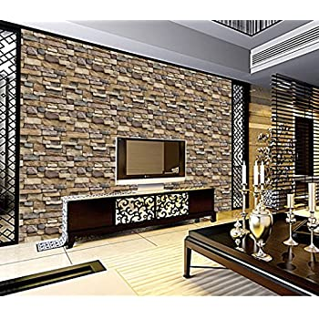 Molyveva Brick Stone Rustic Effect Vivid Wall Sticker Self Adhesive 3D Paper House Decor