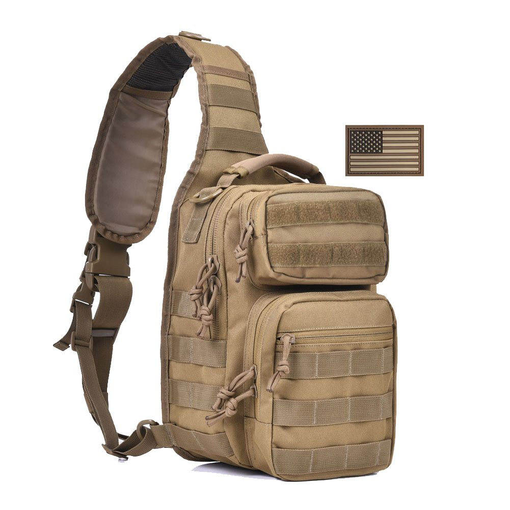 76d0aa5924 Tactical Sling Bag Military Single Shoulder Backpack Pack Small Range Bags  w  US Flag Patch