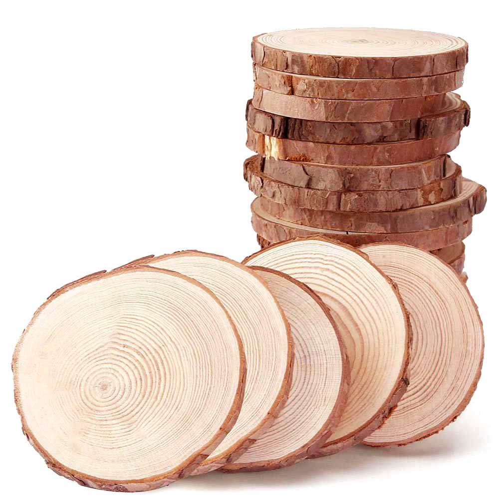 Wood Slices for Coasters 2.9 3.2 inch 20pcs by MAIYUAN