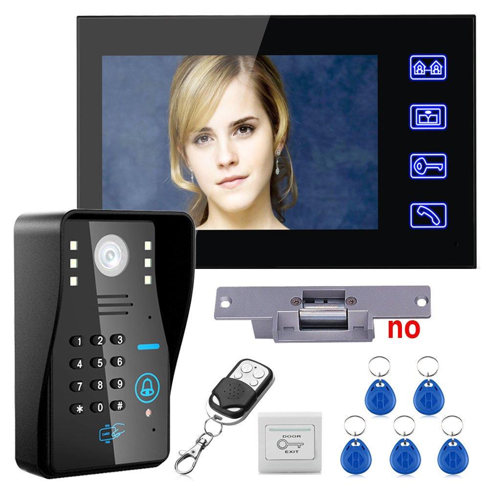 Touch Key 7'' Lcd RFID Password Video Door Phone Intercom System Kit+ Electric Strike Lock+ Wireless Remote Control unlock