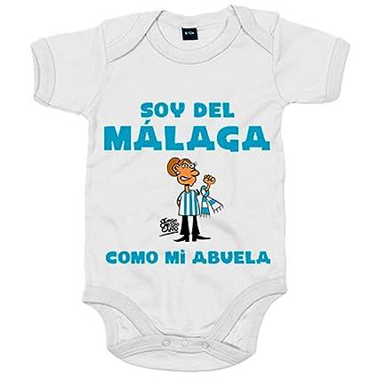 Body bebé soy del Málaga como mi abuela Jorge Crespo Cano - Blanco, 12-