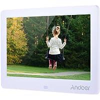 Andoer cadre photo numérique 12 pouces, cadre numérique avec haute définition 1280*800,  cadre avec télécommande comme horloge calendrier MP3 MP4