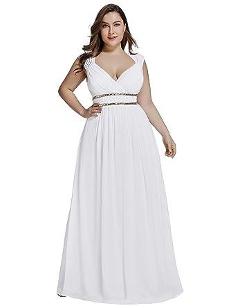 1f753481e1c Ever-Pretty Col V Robe de Soirée Longue Femme Grande Taille Empire  Cérémonie  Amazon.fr  Vêtements et accessoires