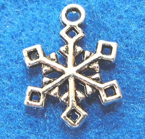 10Pcs. Tibetan Silver Snowflake Charm Earring Drops Pendant Jewelry Finding CH28 Crafting Key Chain Bracelet Necklace Jewelry Accessories Pendants ()