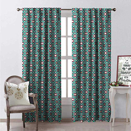 - Mid Century Modern Waterproof Window Curtain Circles Round Polka Dots Print Decorative Curtains for Living Room W72 x L84 Dark Blue Grey Dark Seafoam Pale Ru and Eggshell