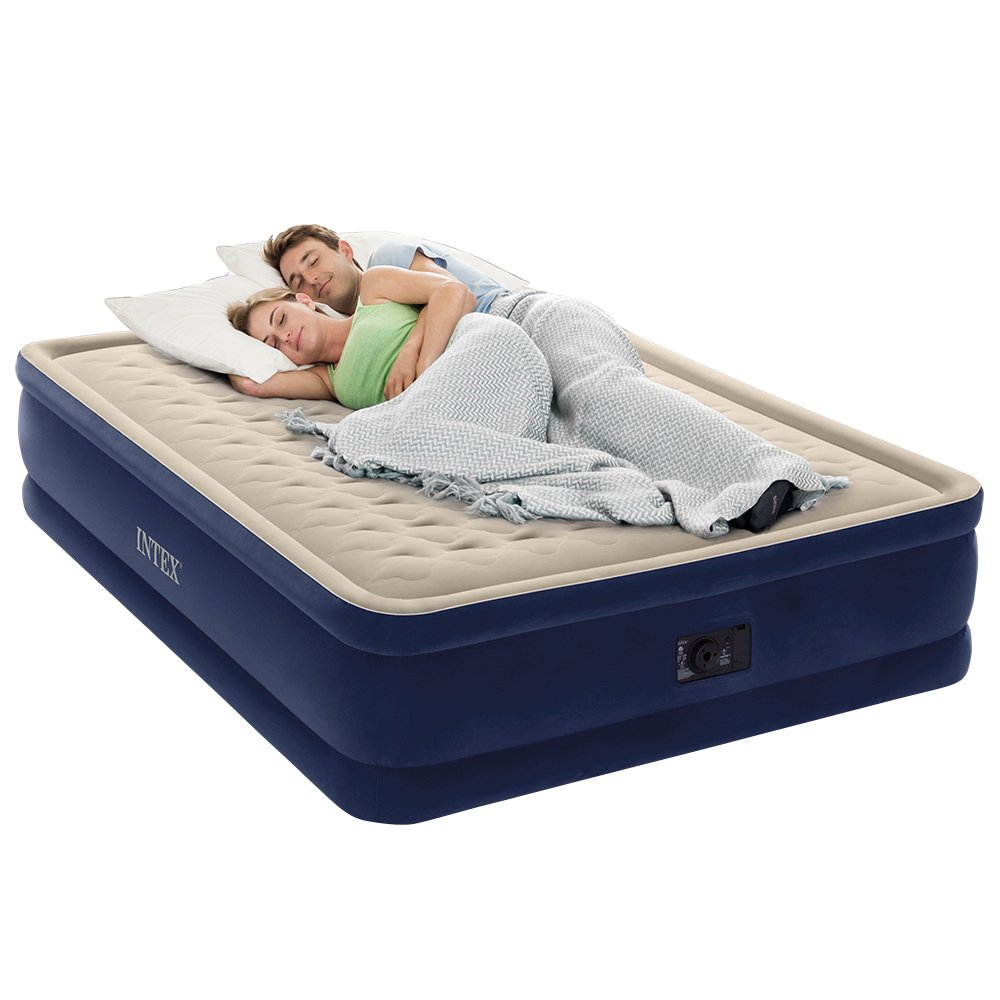 Intex Dura-Beam Series Elevated Deluxe Airbed with Built-in Electric Pump, Bed Height 18'', Queen - Amazon Exclusive