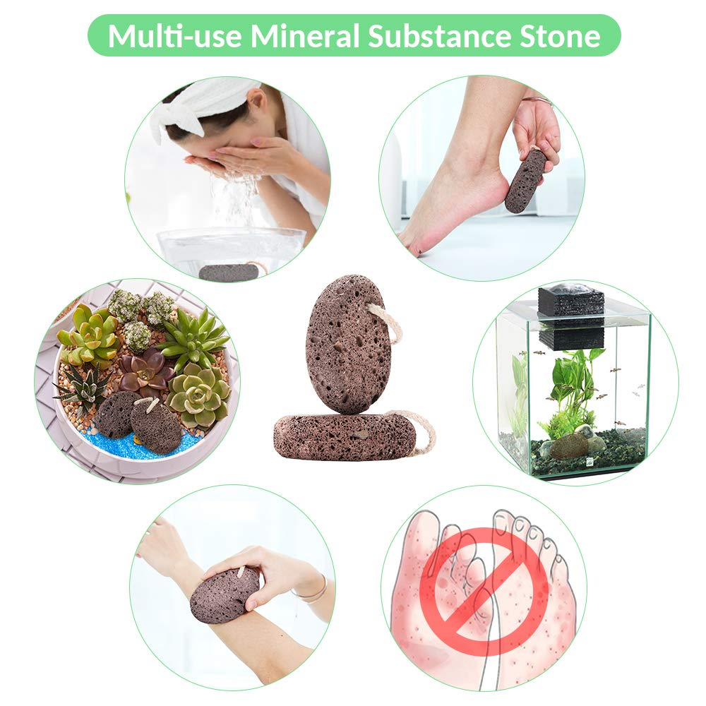 Natural Pumice Stone Foot Scrubber - Earth Volcanic Lava Pumice Stone Foot Exfoliater Callus Remover Exfoliating Rock for Feet Heel Hand Body Dead Skin Removal Home Pedicure Exfoliation Tool 2 in 1 by INCOK (Image #9)
