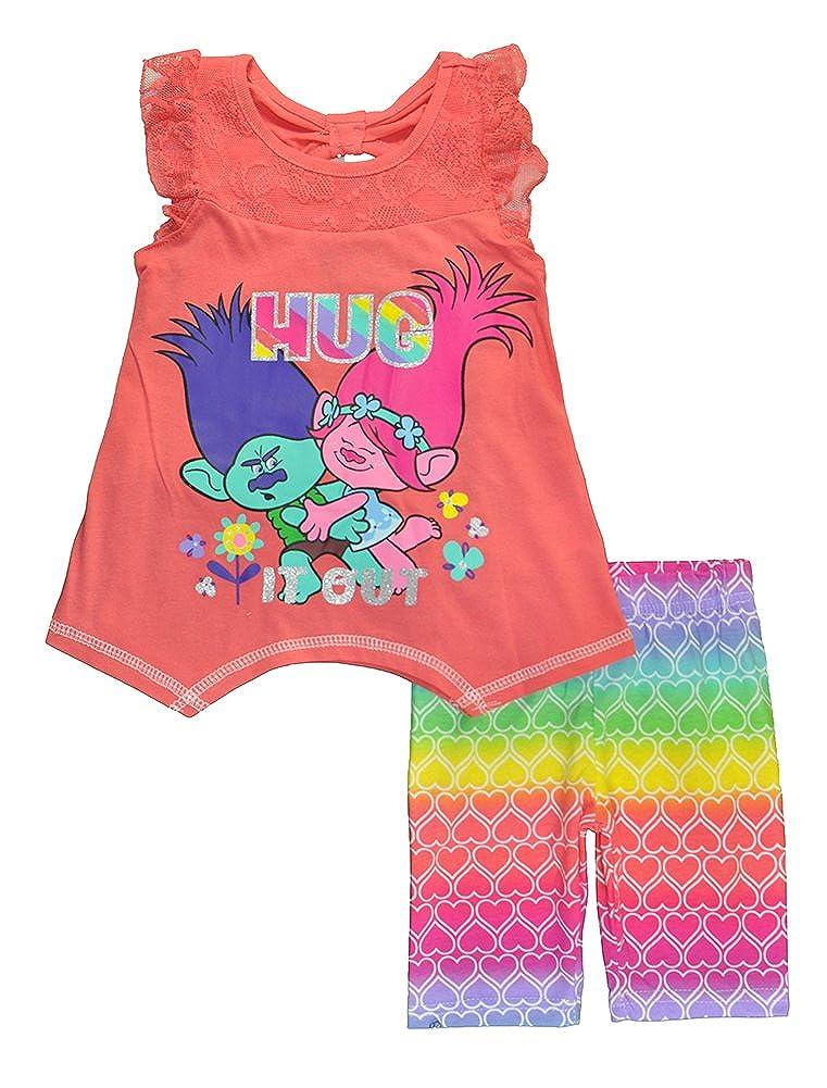 Trolls Little Girls Blue Hug It Out Tunic Two-Piece Bermuda Set