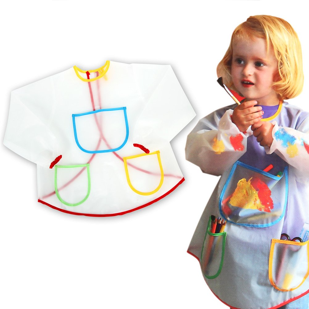 Art Smock Painting Apron Waterproof Long Sleeve Art Class Crafts for Kids, Toddlers Happy Glow