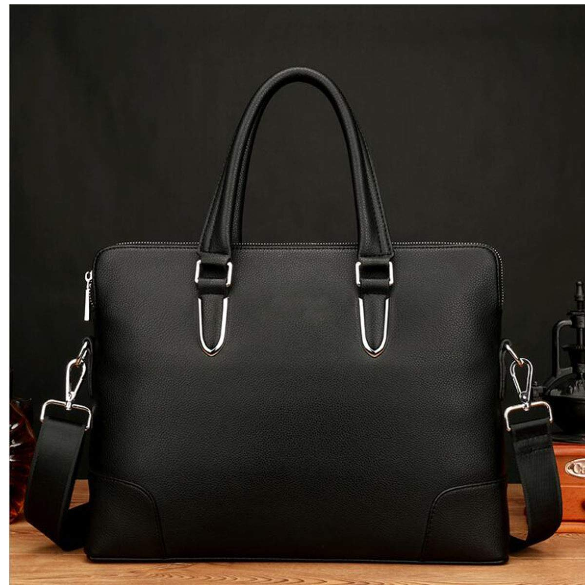 New Mens Leather Business Casual Handbag Dark Blue Briefcase Large-capacity Computer Bag Size: 37628cm