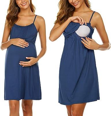 Unibelle - Camisa de lactancia para mujer, sin mangas, vestido de nacimiento, pijama de lactancia, corta, verano, sin aros: Amazon.es: Ropa y accesorios