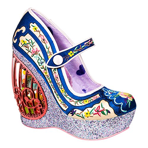 Irregular Choice Women's Ava's Aviary Floral Embroidered Wedge Platform Shoes (EU 37) Blue/Multicolor