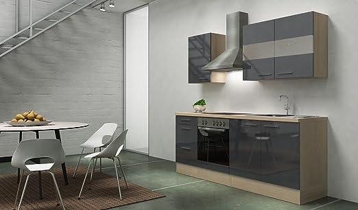 respekta Premium Instalación de Cocina Cocina 210 cm Acacia Gris Brillo vitrocerámica recirculación: Amazon.es: Hogar