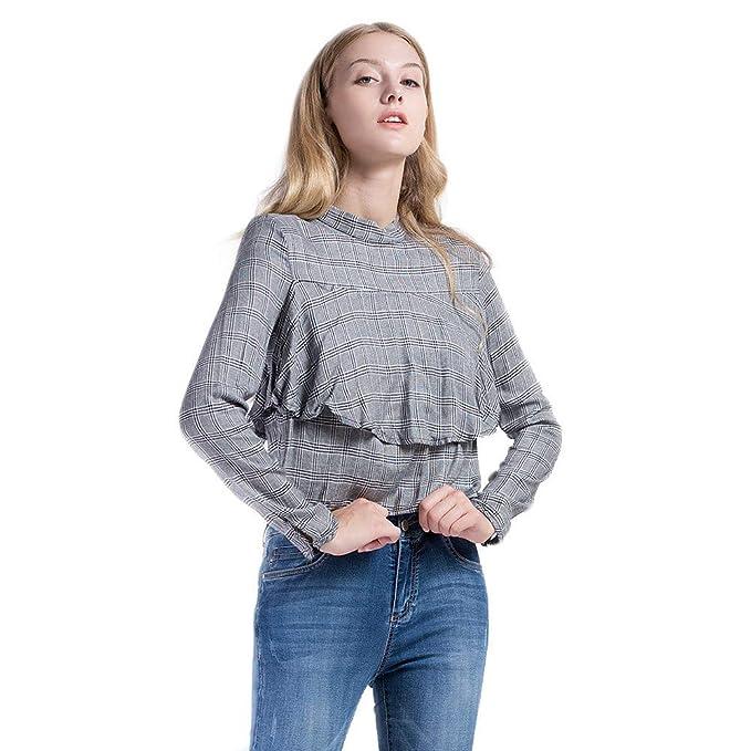 87acbe49f42 Vero Viva Women's Vintage Plaid Double Layered Ruffle Crop Top Shirt Long  Sleeve(XS,