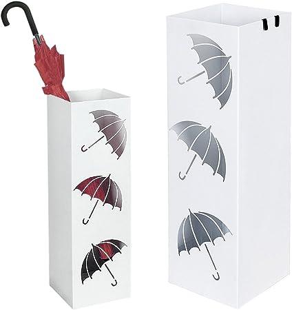 BAKAJI Portaombrelli Stand in Ferro Design Colore Bianco con Vaschetta Salvagoccia e Ganci per Ombrelli Dimensioni 49 x 15,5 cm