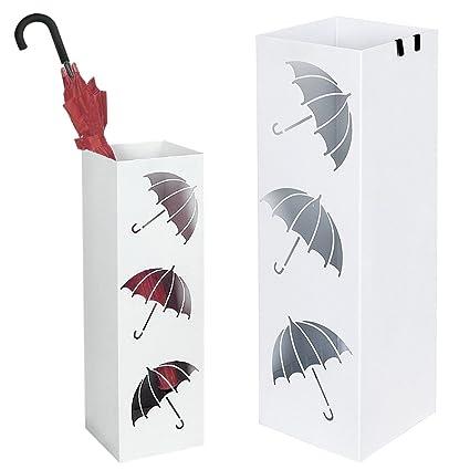 Bakaji - Paragüero de hierro de diseño BAK6W cuadrado de color blanco con adornos en forma