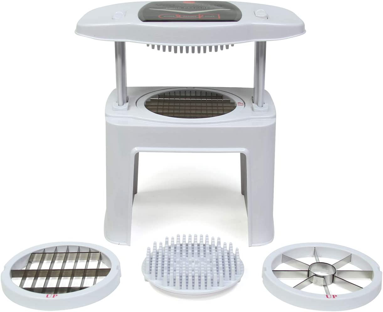 Ronco Veg-O-Matic, Fruit and Vegetable Chopper, Interchangeable Stainless-Steel Blades, Food Cutter, Dishwasher Safe