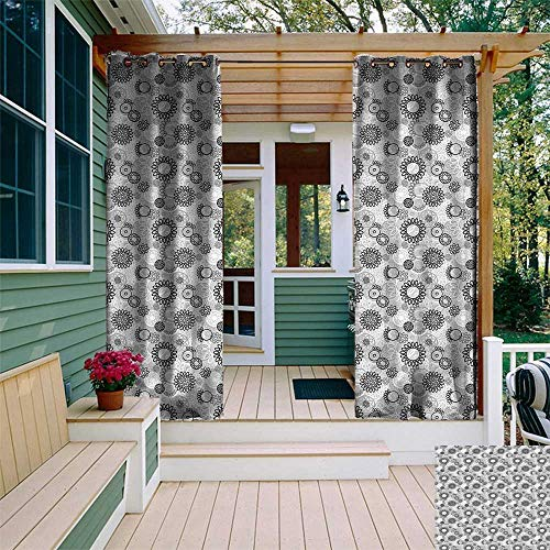 UNOSEKS LANZON Outdoor Gazebo Curtain, Black and Grey Doodle Style Blooming Flowers Greyscale Garden Art with Circles Window Curtains Set 2 Panels (Black Pale Grey White, 108 x 96 Inches)
