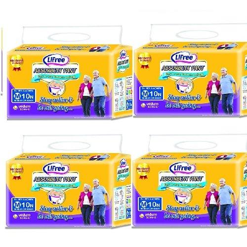 Lifree Absorbent Adult Diaper Pants (Medium, 24-33 Inch/60-85 cm) – Pack of 4
