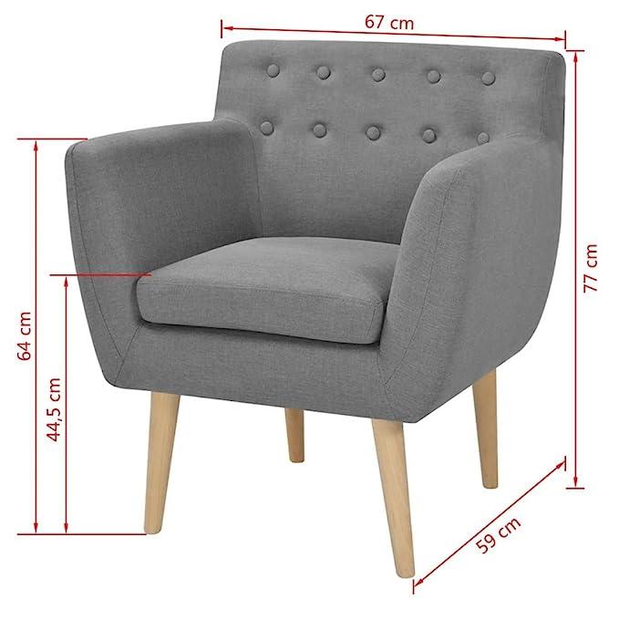 Vislone Sillón Butaca de Diseño Conciso y Moderno Tela Gris Claro 67x59x77cm
