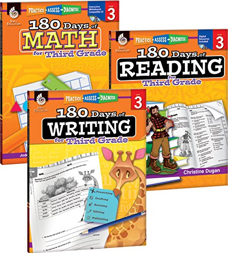 180 Days of Reading, Writing and Math for Third Grade 3-Book Set (180 Days of Practice)