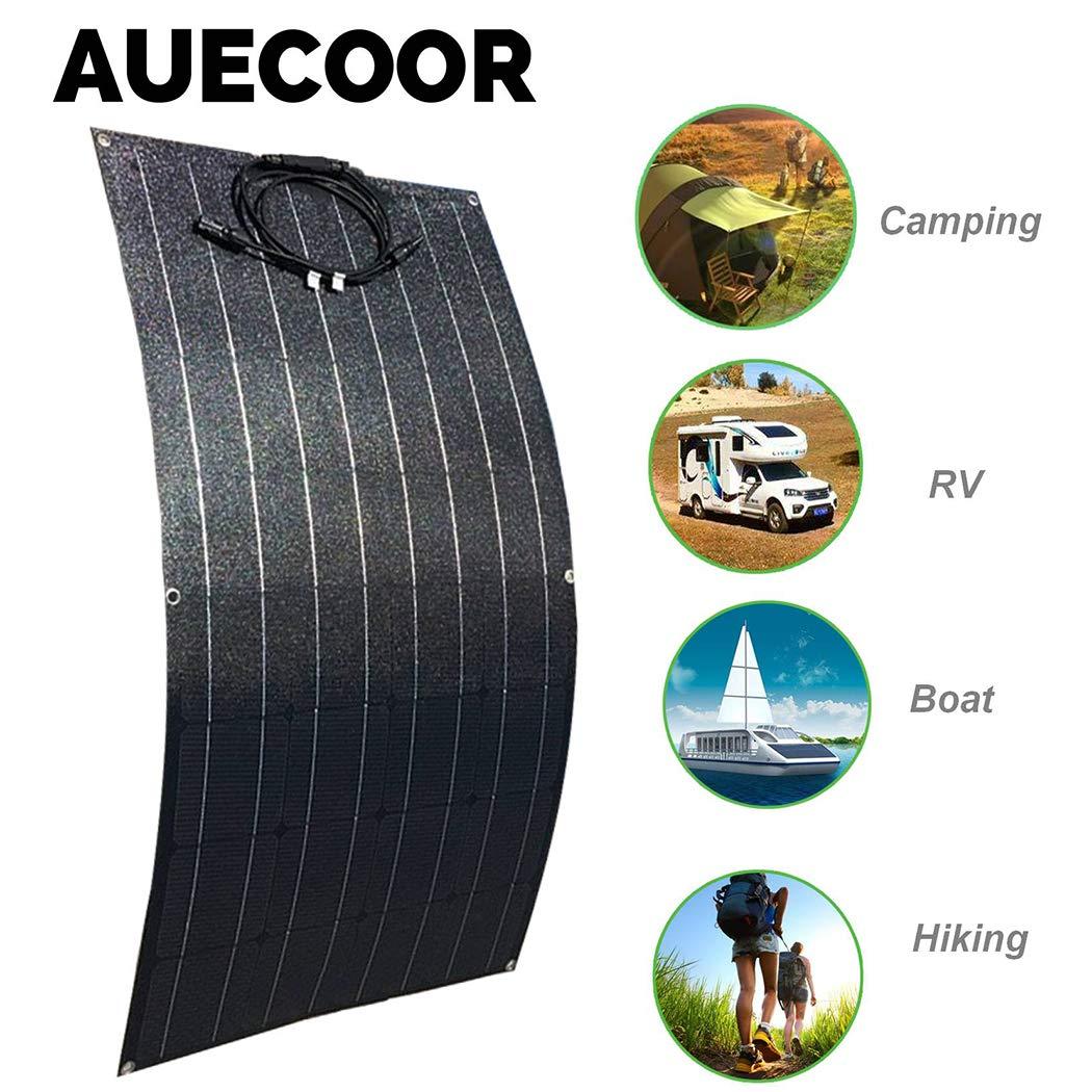 Trailer,Shed,12V Battery Charging Off Grid AUECOOR 100 Watt Flexible Solar Panel Bendable Solar Panel Waterproof Monocrystalline Solar Module for RV,Boat