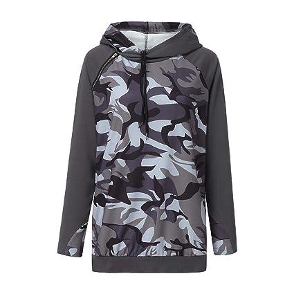 ZJSWCP Sudadera Sudadera Casual Camuflaje Sudadera con Capucha Blusa Jumper Escudo Busos para Mujer Moletom Tumblr