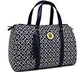 Tommy Hilfiger Logo Tassel Charm Satchel Bag Handbag (Navy Blue)