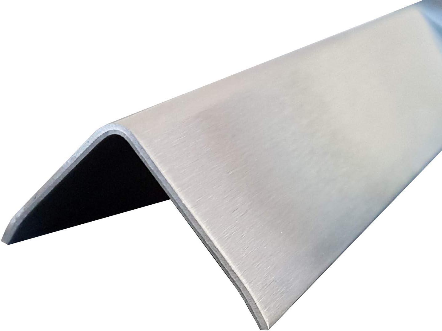 1x Edelstahl Winkel 3-fach gekantet 50 x 30 mm Schliff Au/ßen Edelstahl V2A K240 geschliffen 1500 mm lang 0,8 mm stark einseitig mit Schutzfolie
