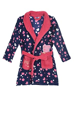 Peppa Pig Girls Bathrobe Dressing Gown Soft Coral Fleece 2-8 Years ...