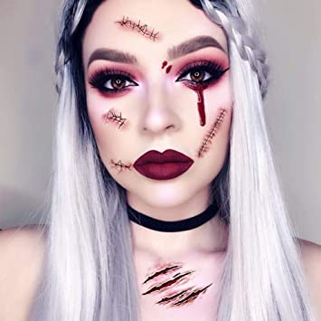 931ddcc59 Amazon.com : Halloween Temporary Face Tattoo Sticker Fake Bloody Wound  Waterproof Horror Realistic Stitch Scar : Beauty