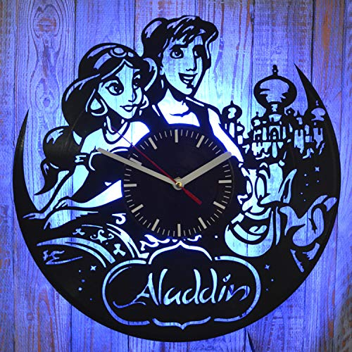 Aladdin Disney Movie Night Light Wall Lights Vinyl Record Wall Clock Wall Decoration Idea Aladdin and Jasmine Print The Best Gift Idea of Home Interior