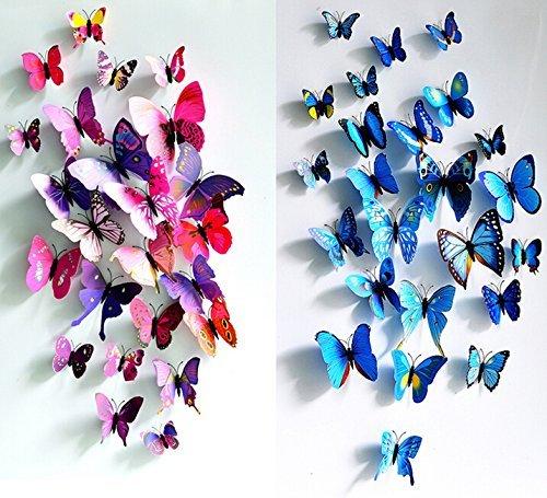ElecMotive 24 tlg 3D Wandtattoo Wand Aufkleber Schmetterlinge im 3D-Style, 24-Stück, Wanddekoration mit Klebepunkten zur Fixierung (Klebepunkten+ Magnet) 24 Stück (12pc Blau+12pc Lila)