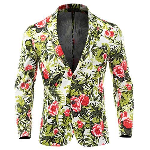 Men's Beach Floral Slim Casual Blazer Two Button Long Sleeve Sport Coat Jacket Green ()